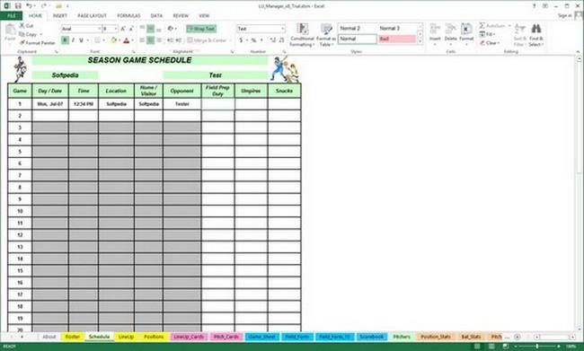 baseball statistics spreadsheet excel