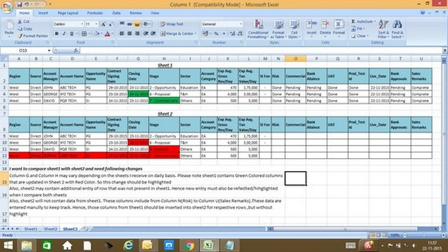 how to compare two excel worksheets for differences