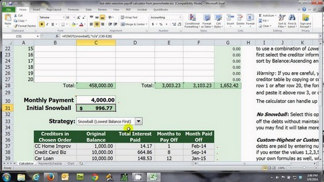 Debt Payoff Spreadsheet  Nbd