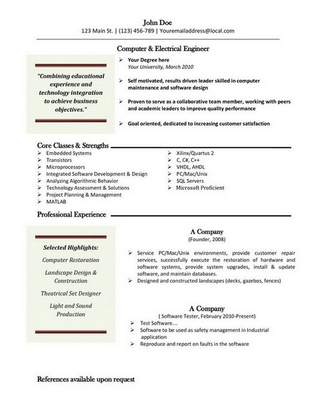 resume template for macbook