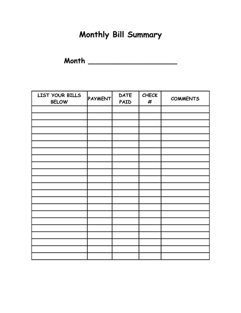 Bills Spreadsheet Printable