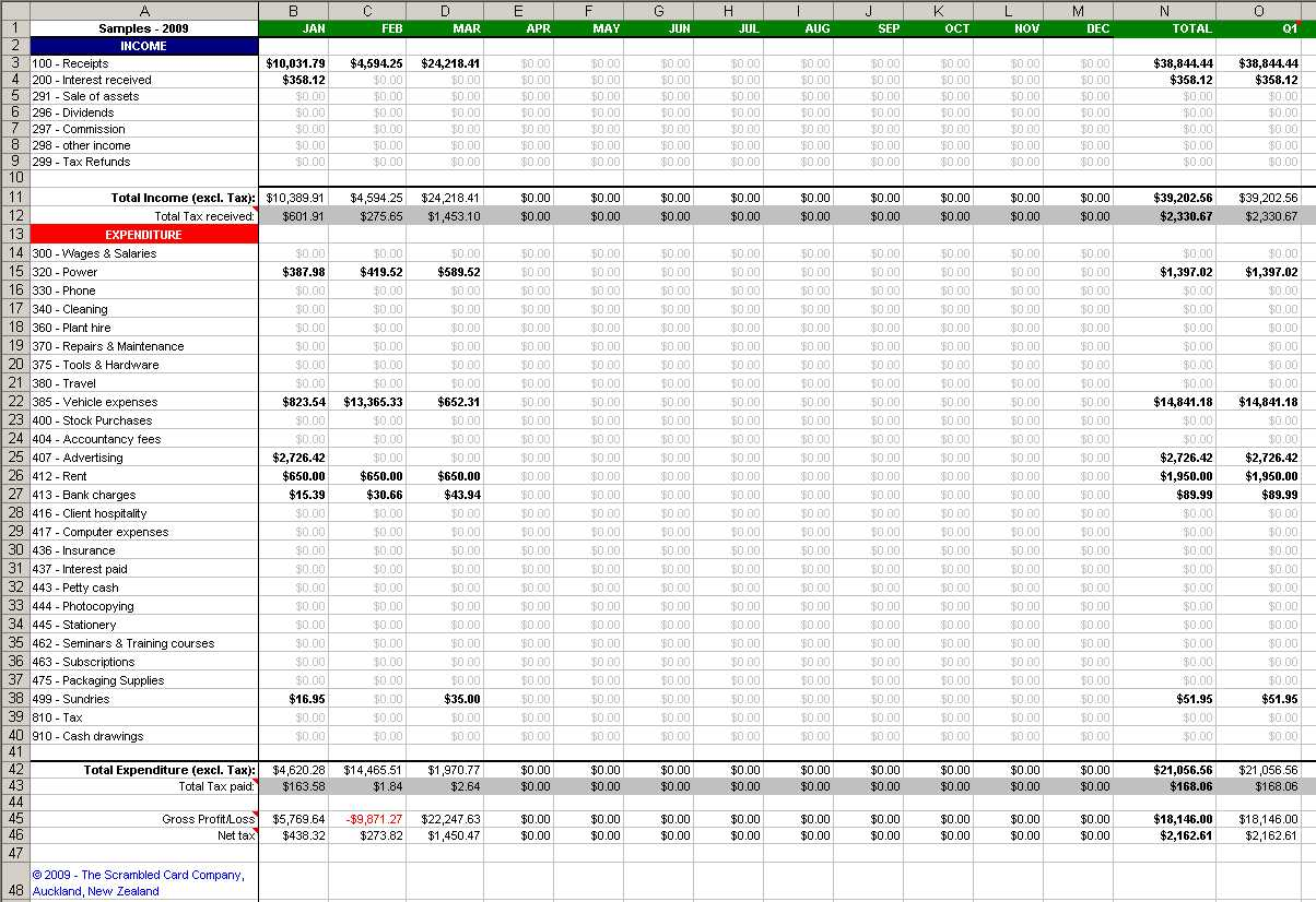 Bookkeeping Template Excel Free