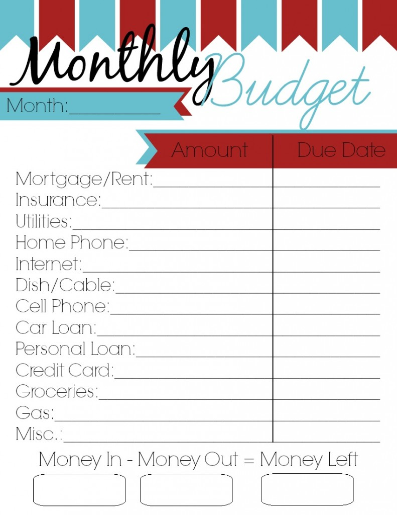 Budget Spreadsheet Printable