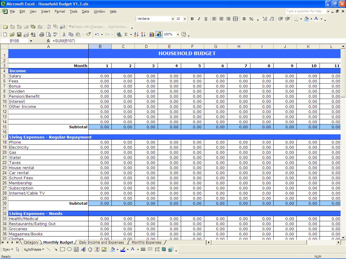 Excel Template For Monthly Bills