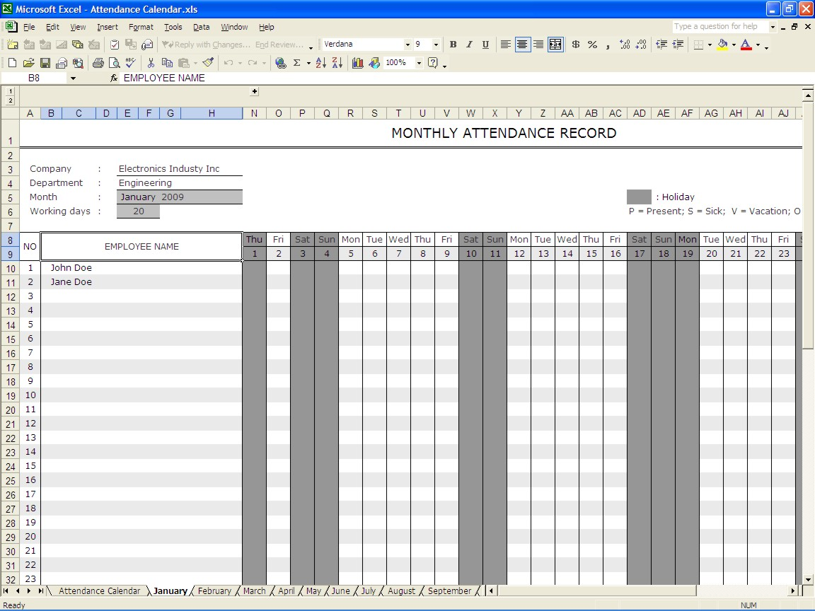 Excel Vacation Tracker 2016