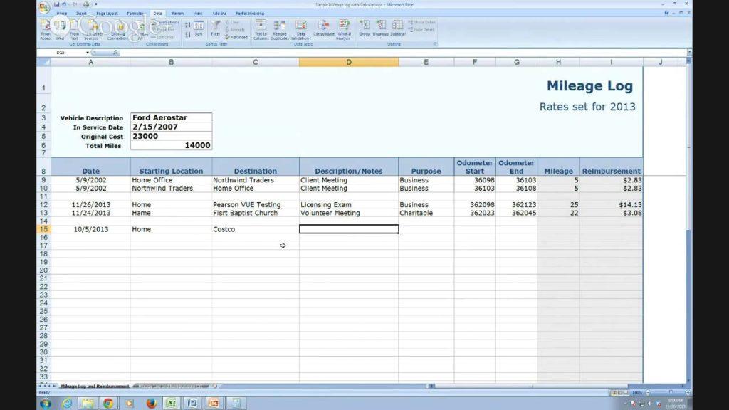 mileage excel spreadsheet