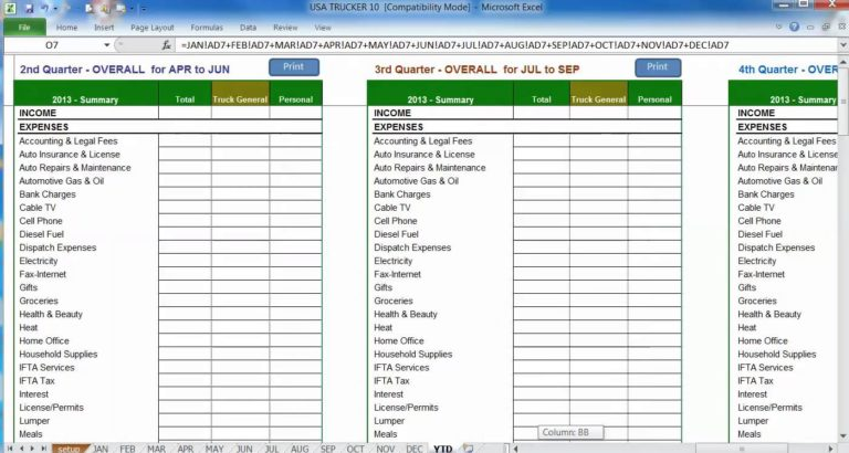 trucking income and expense spreadsheet