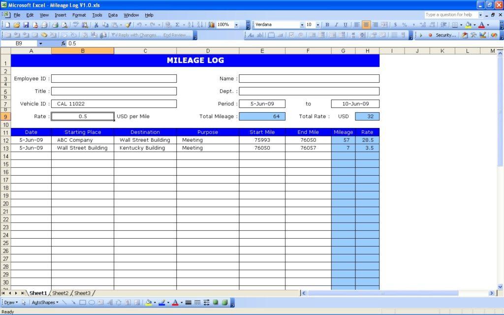 mileage spreadsheet for taxes
