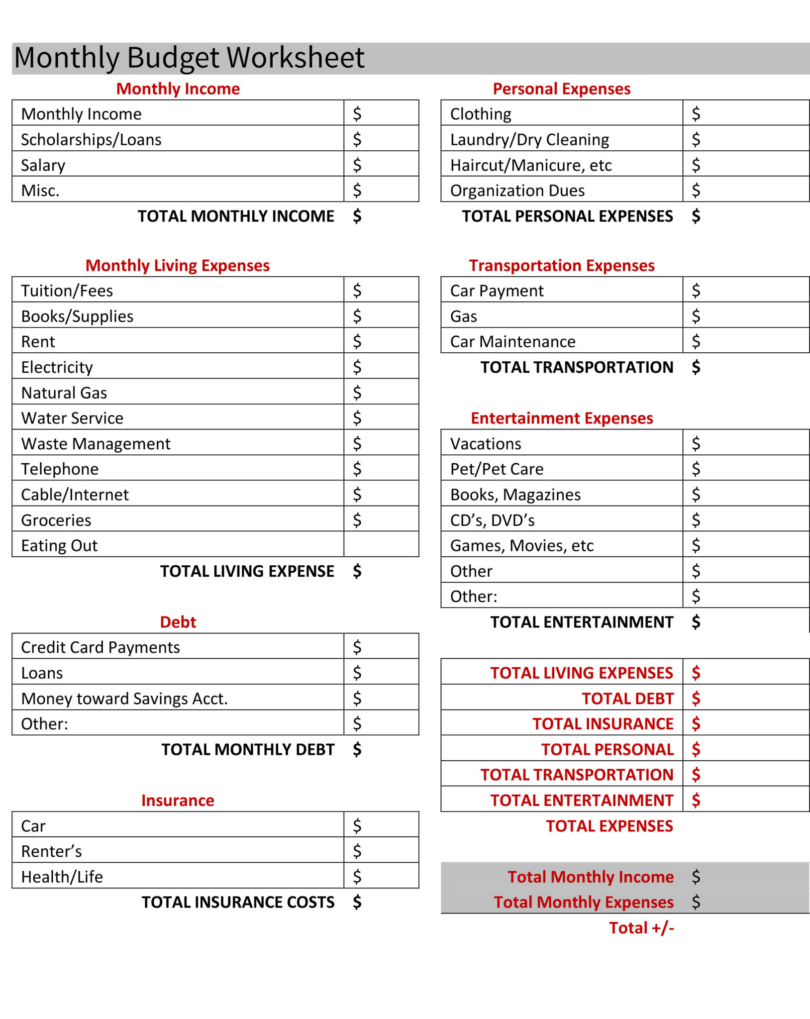 Money Management Excel Sheet