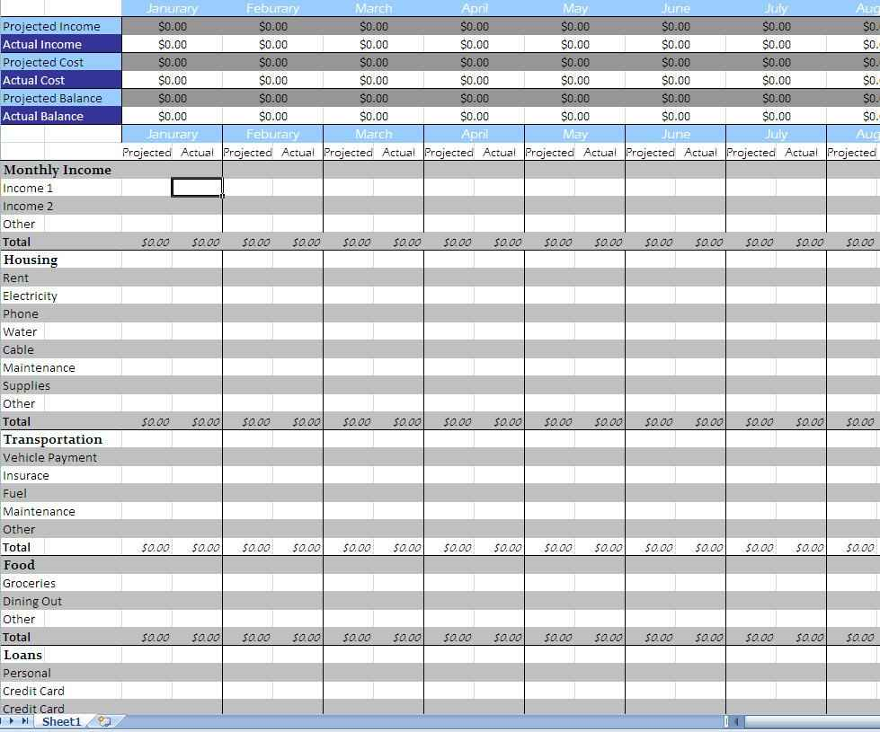 Monthly Bill Payment Spreadsheet