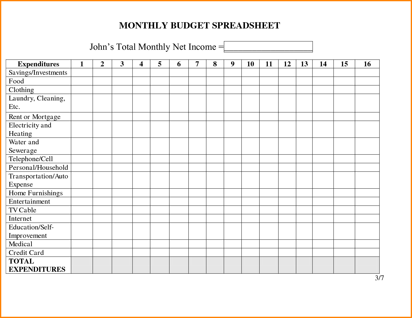 Monthly Bills Spreadsheet Printable