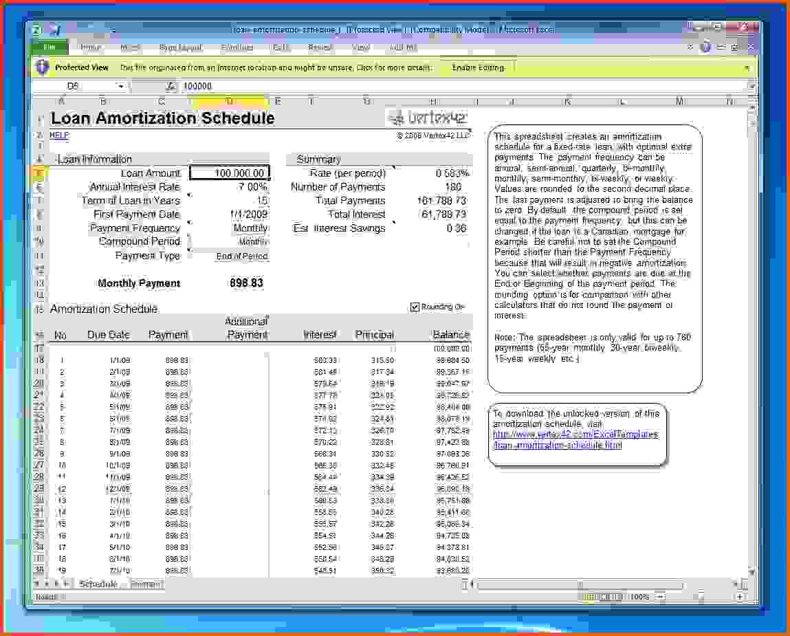 Mortgage Amortization Spreadsheet Excel Free and Mortgage Amortization Calculator Extra Payments ...