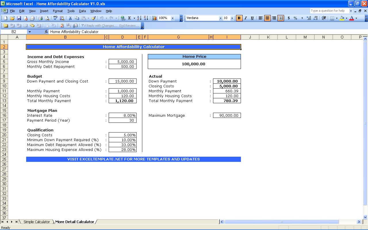 Mortgage Payment Calculator Excel Worksheet