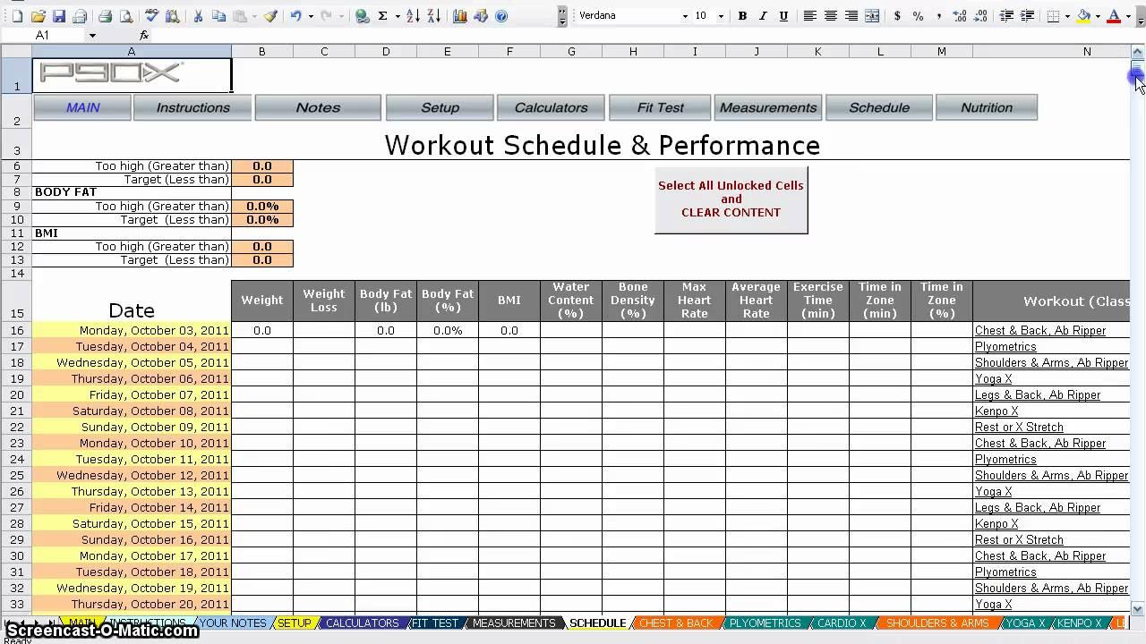 P90x Tracker Sheets