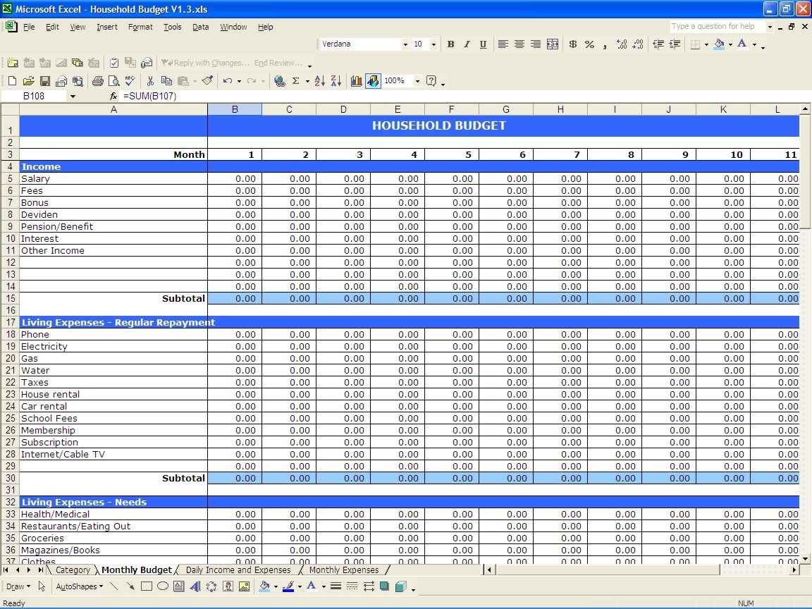 Personal Financial Statement Xls