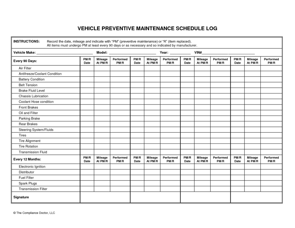 Vehicle Maintenance Log Template Microsoft