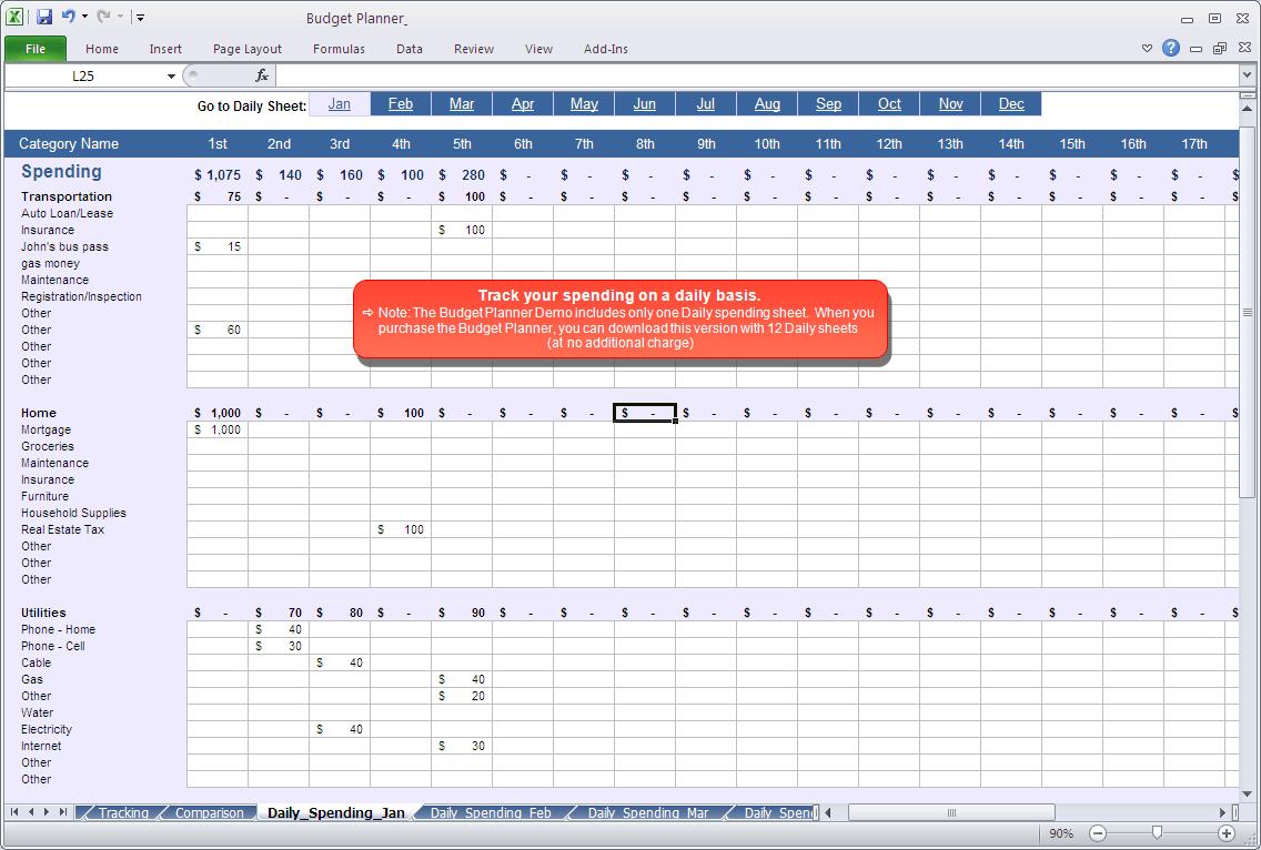 budget tracker spreadsheet