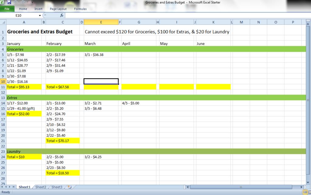 daily spending tracker spreadsheet