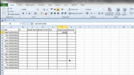 how to make a spreadsheet in excel 2010