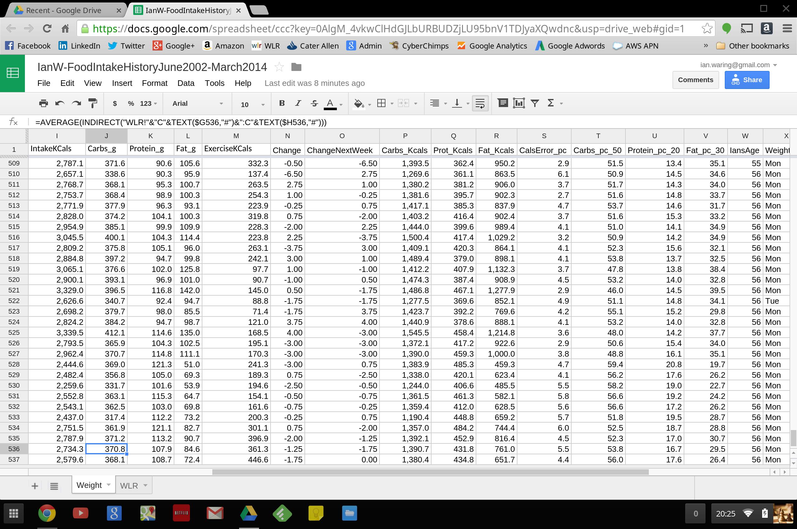 weightloss spreadsheet