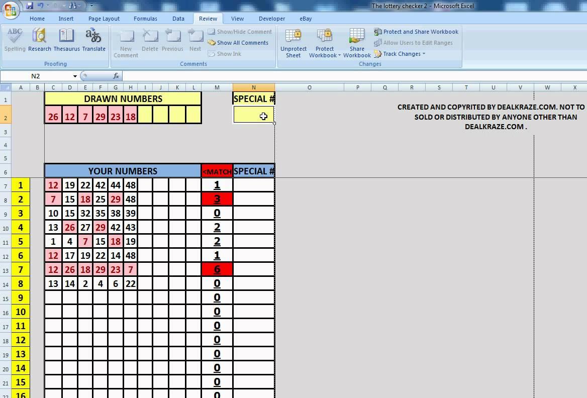 powerball spreadsheet excel