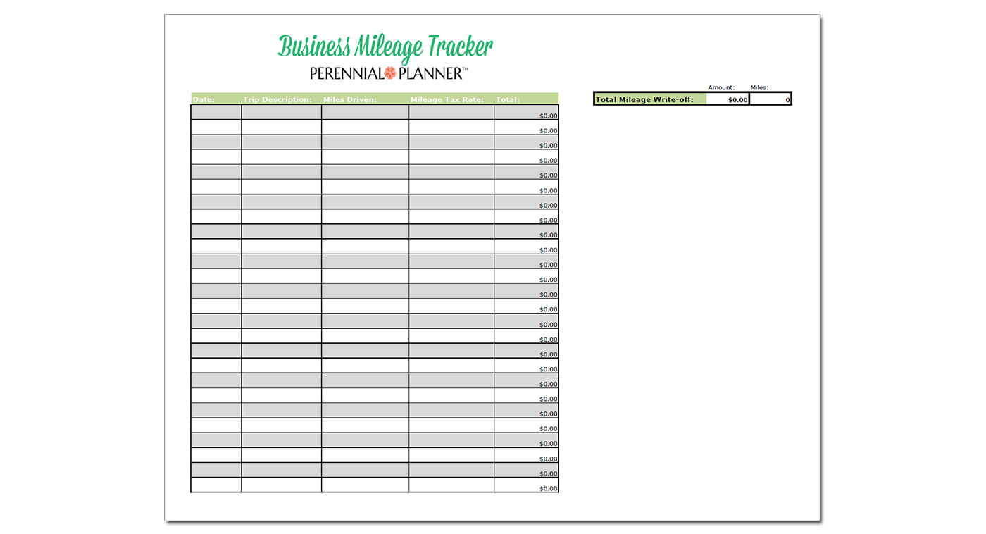 Business Mileage Spreadsheet