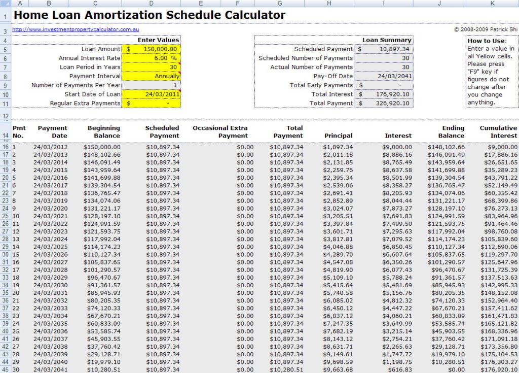 free amortization calculator download