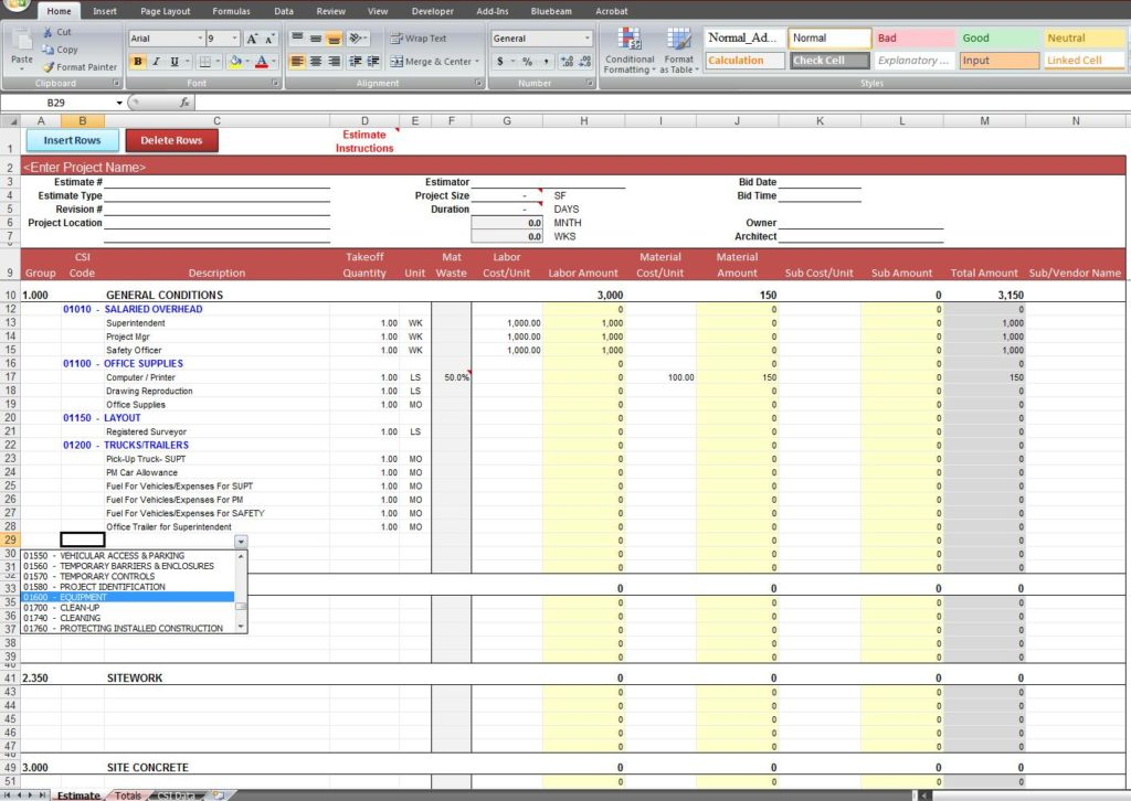 home building cost spreadsheet