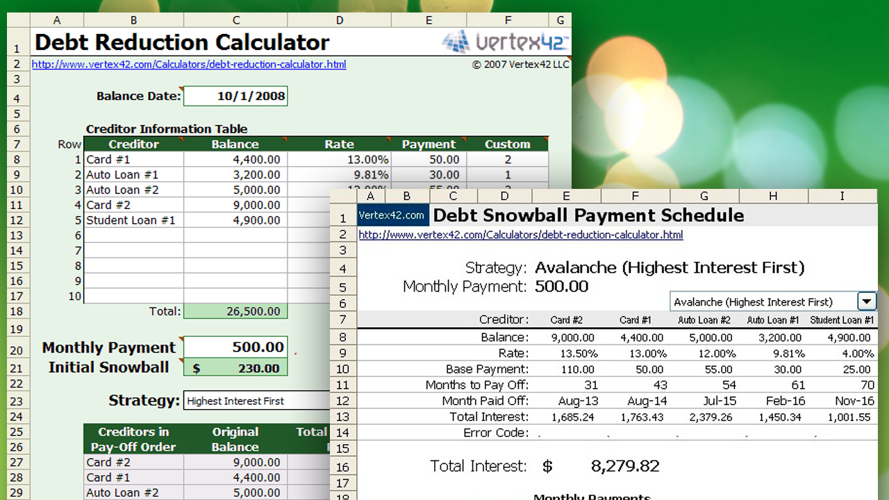 Debt Reduction Spreadsheet Free Download