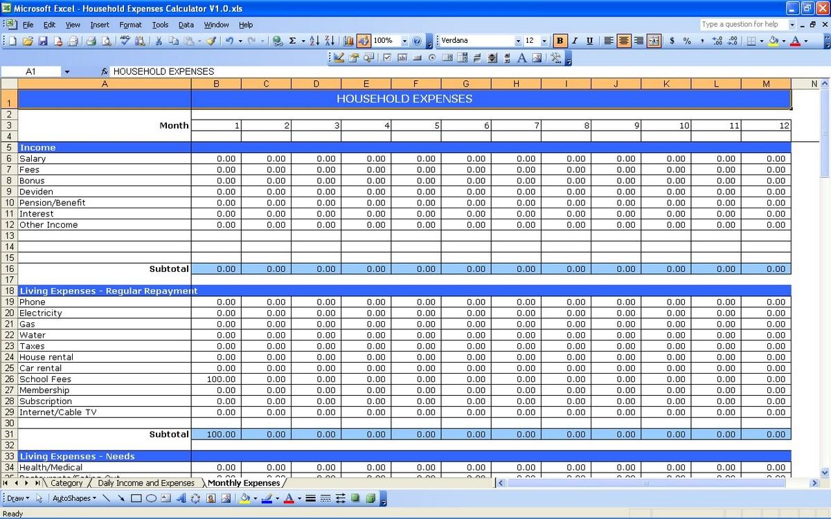 debt spreadsheet