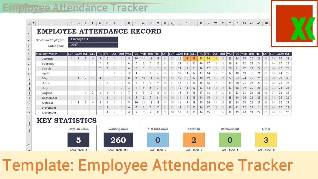 Employee Attendance Sheet Excel And Employee Attendance Sheet In Excel Free Download
