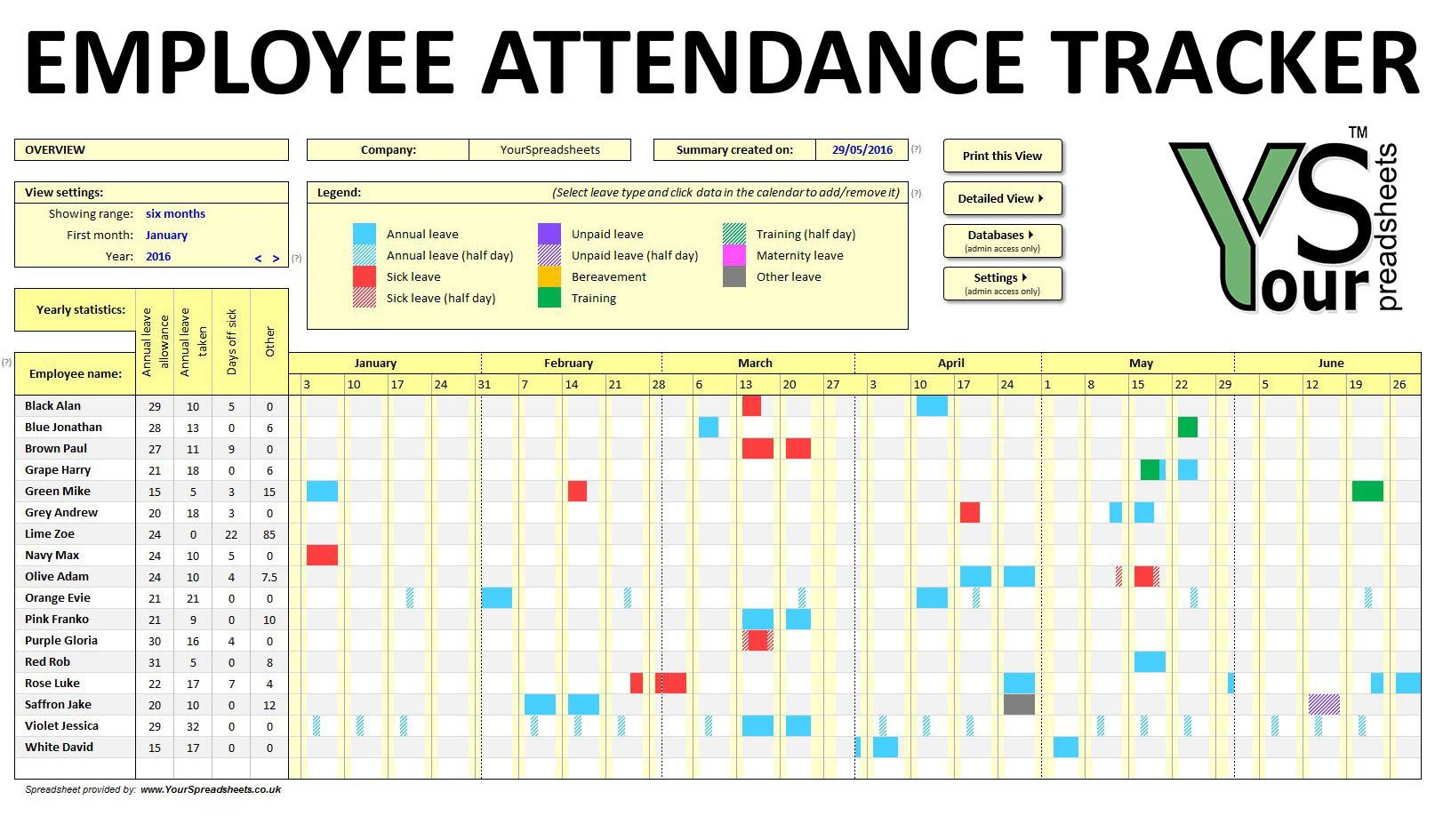 Employee Attendance Tracking Spreadsheet