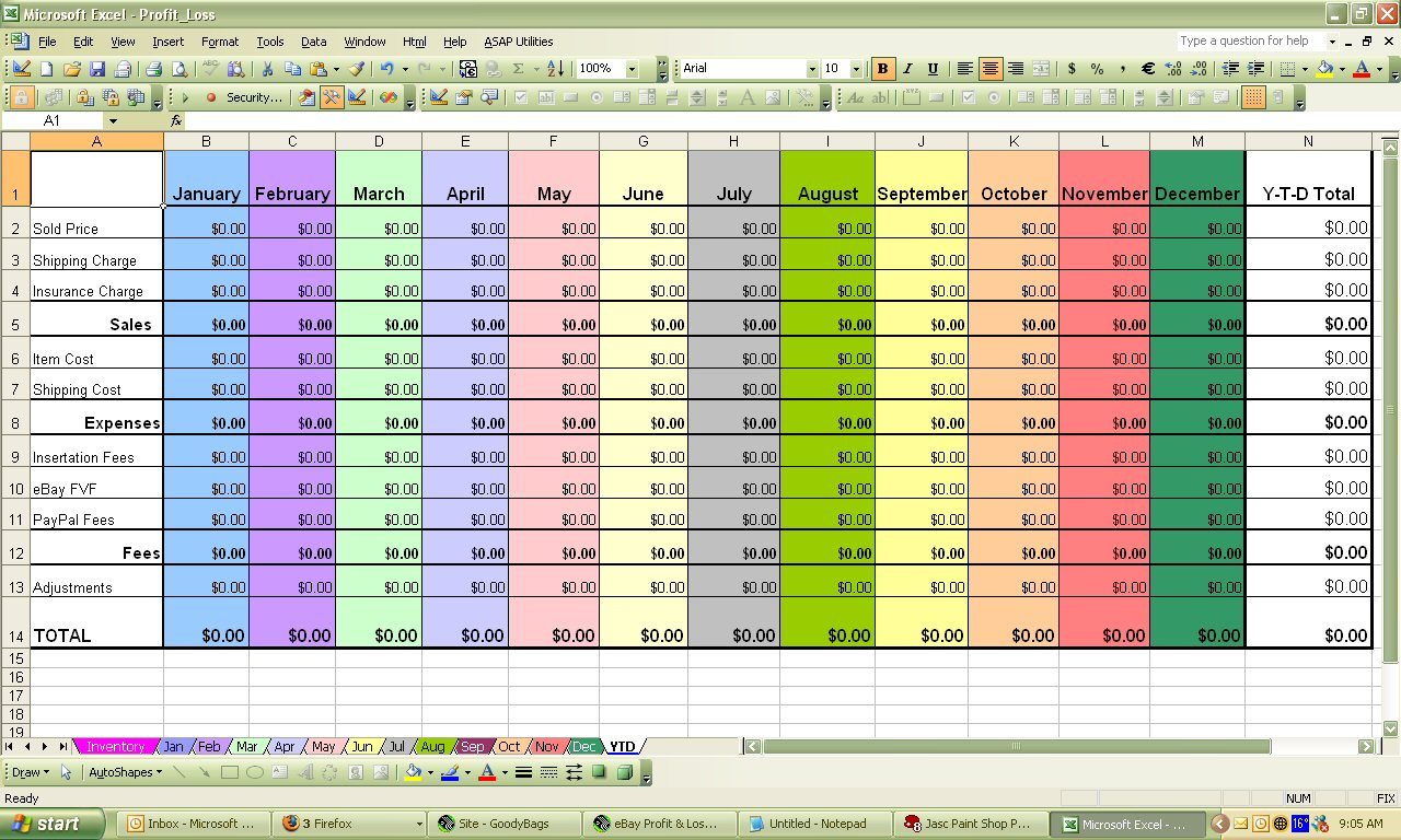 excel sheet template for inventory