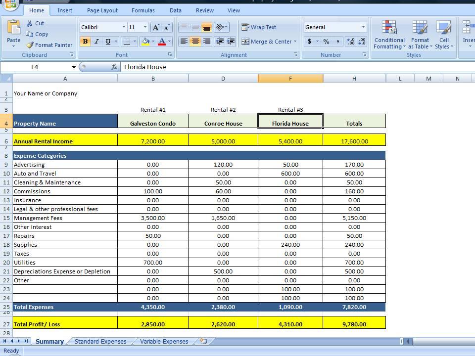 Excel Spreadsheet For Rental Property Management And Excel Spreadsheet For Personal Finance