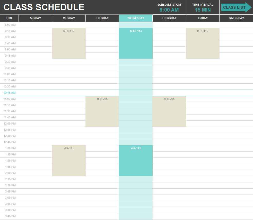 excel for scheduling