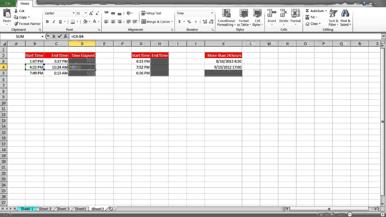 Excel Spreadsheet That Calculates Time Worked