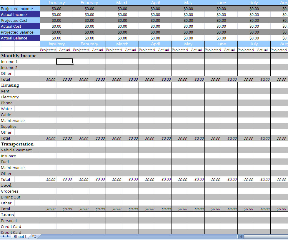 Free Monthly Budget Worksheet Excel And Free Excel Budget Sheet