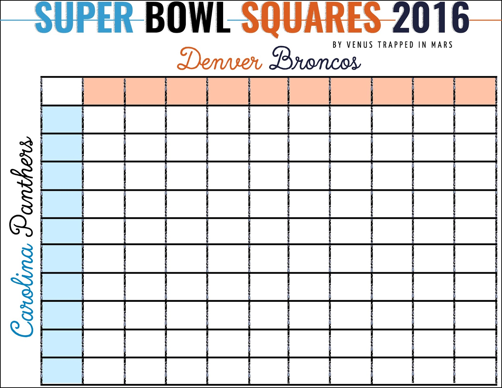 Super Bowl Squares Excel Template