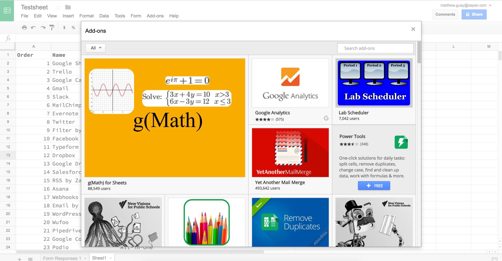 Google Spreadsheet Formulas