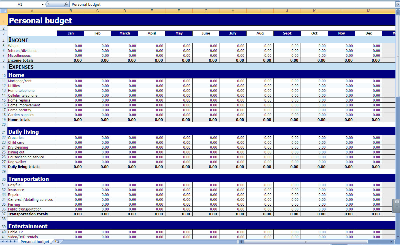 Home Budget Spreadsheet Excel
