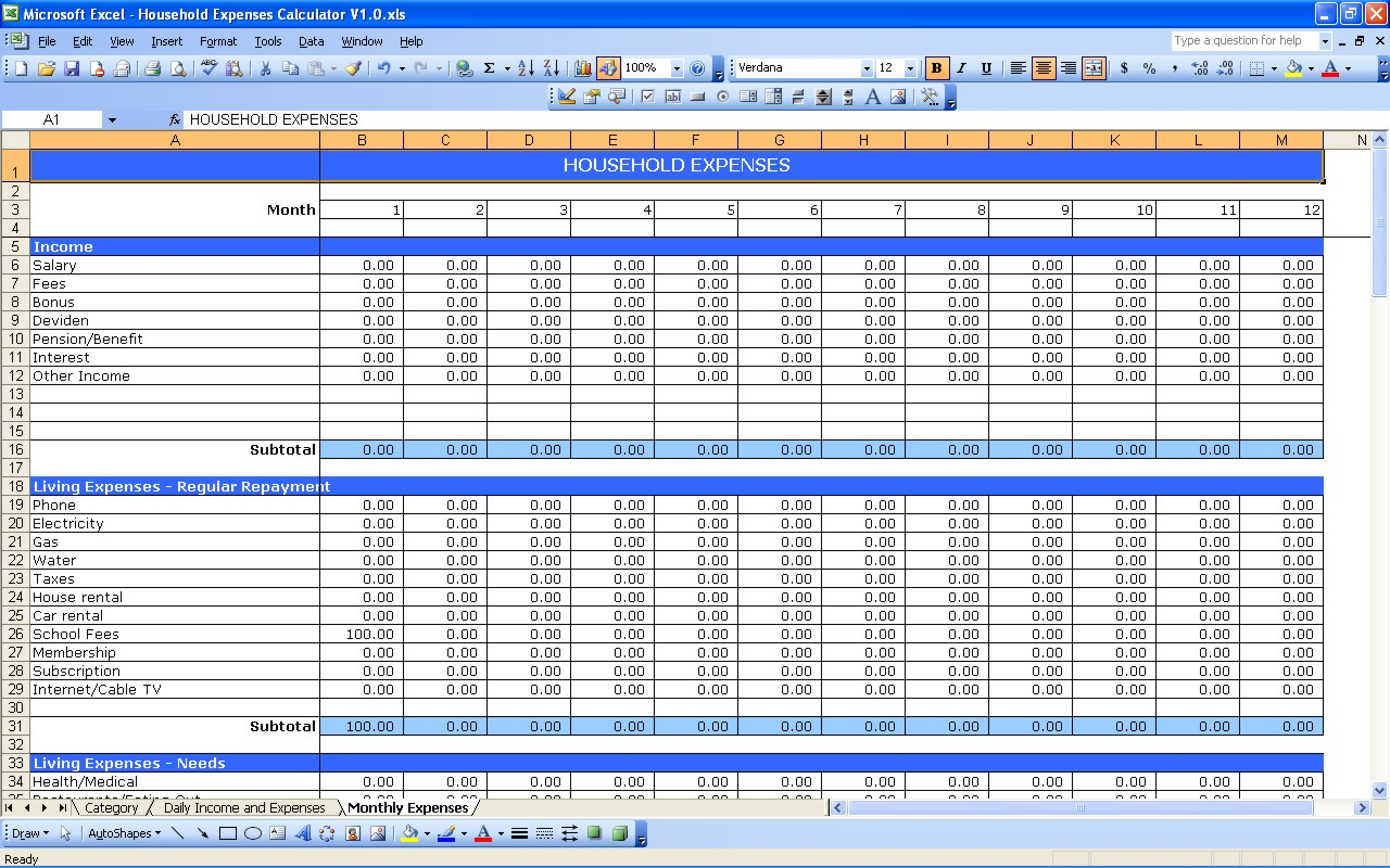 Home Expense Tracking Spreadsheet