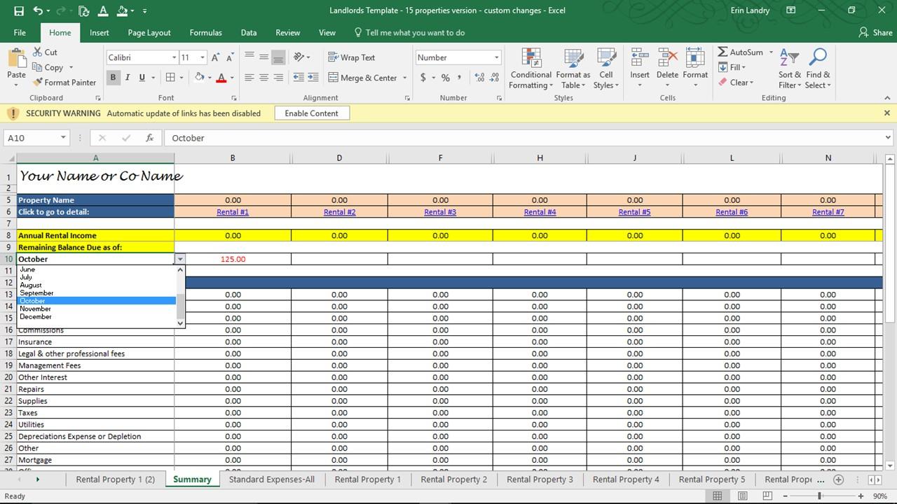 Landlord Spreadsheet
