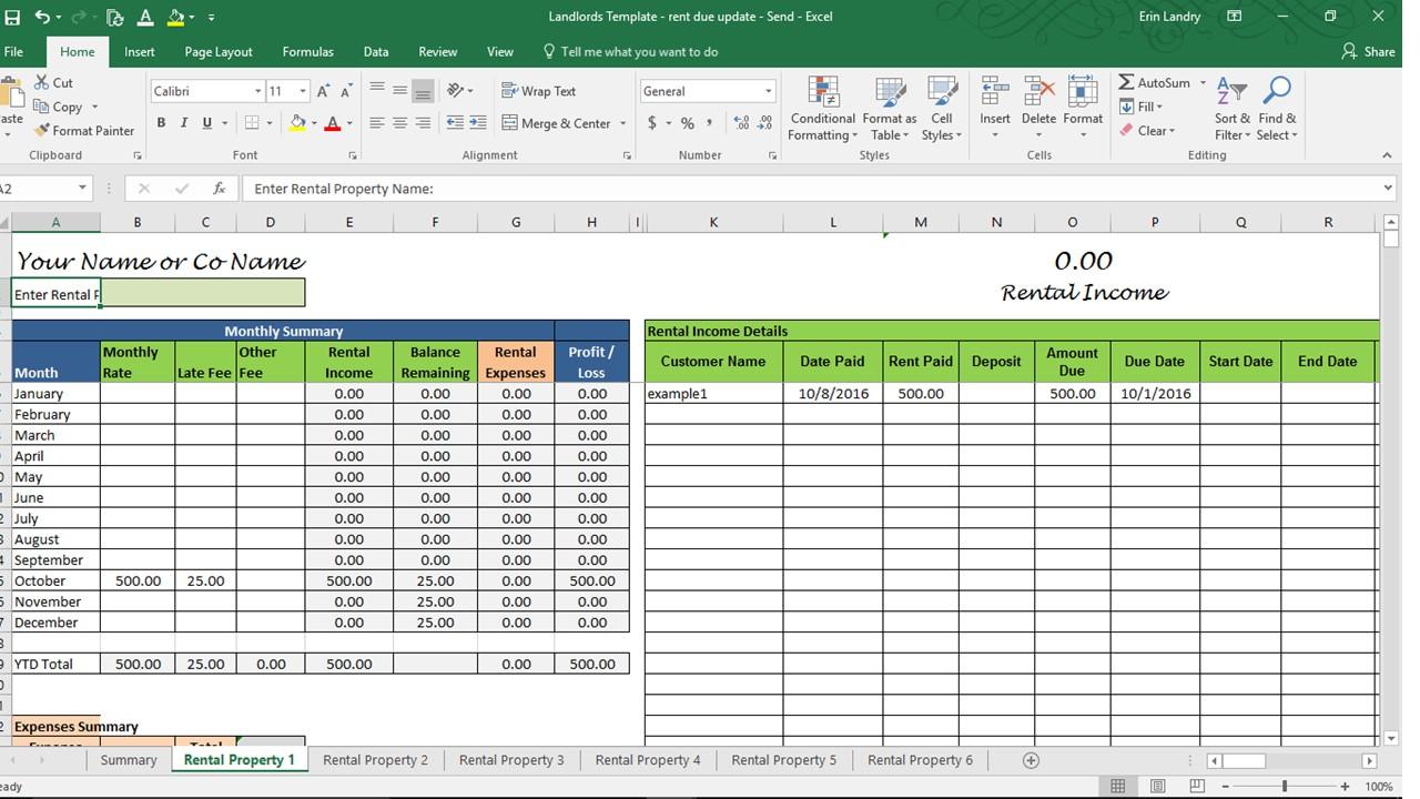 Landlord Spreadsheet Template