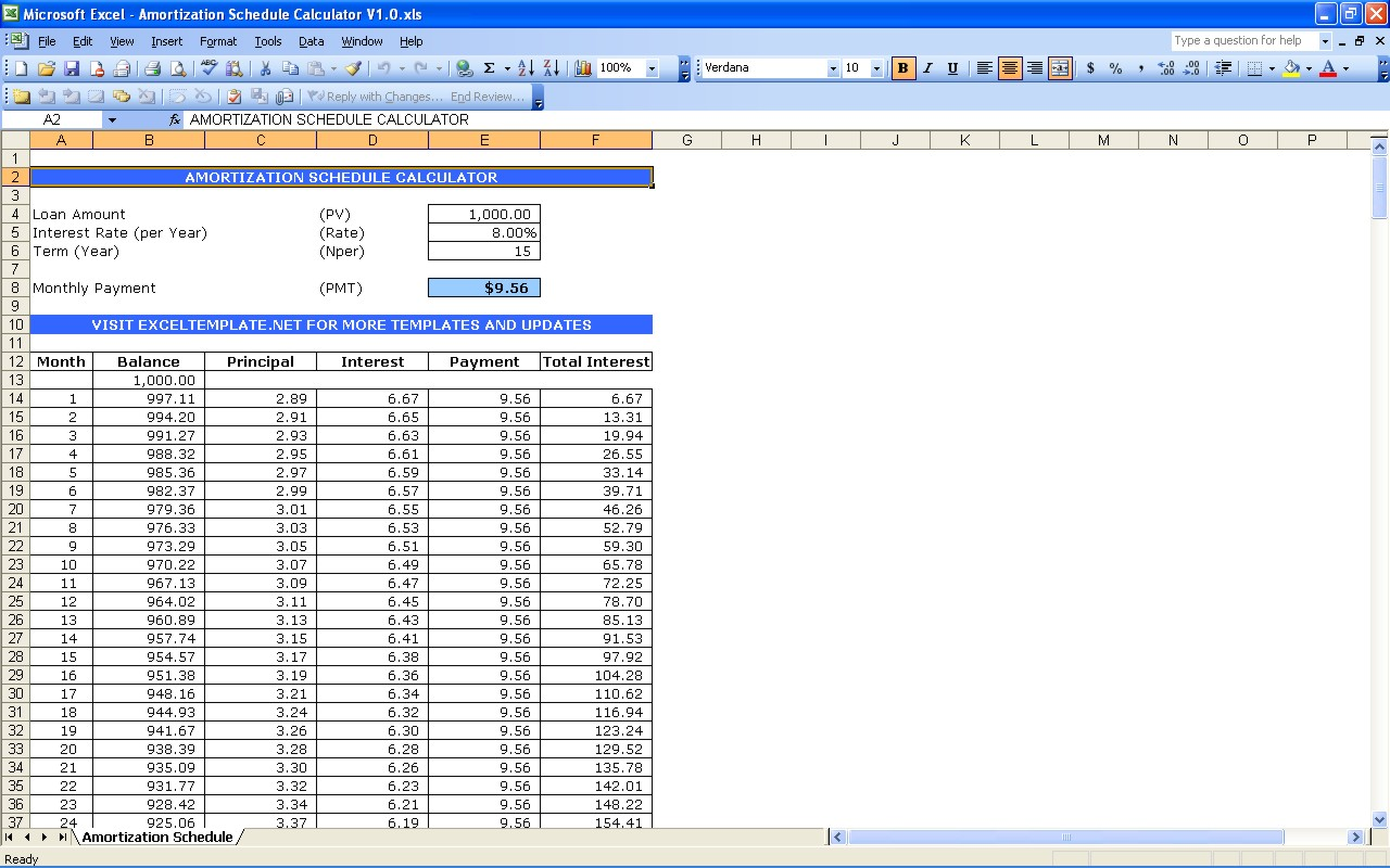 excel loan payoff