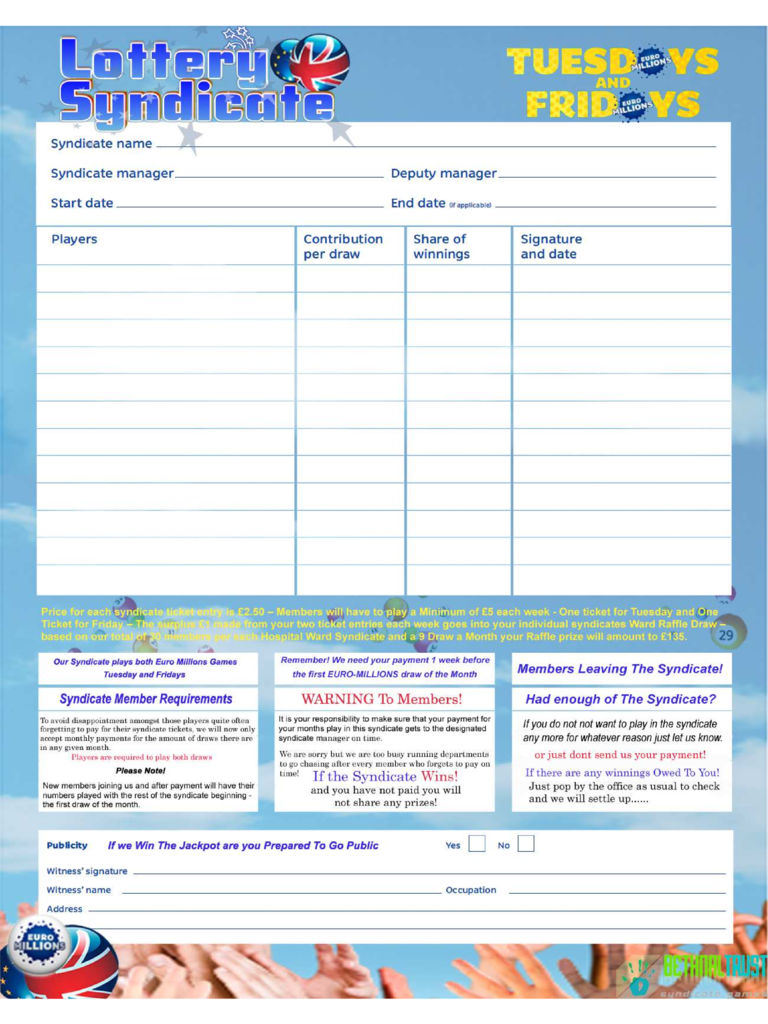 Lottery Syndicate Form Free Download
