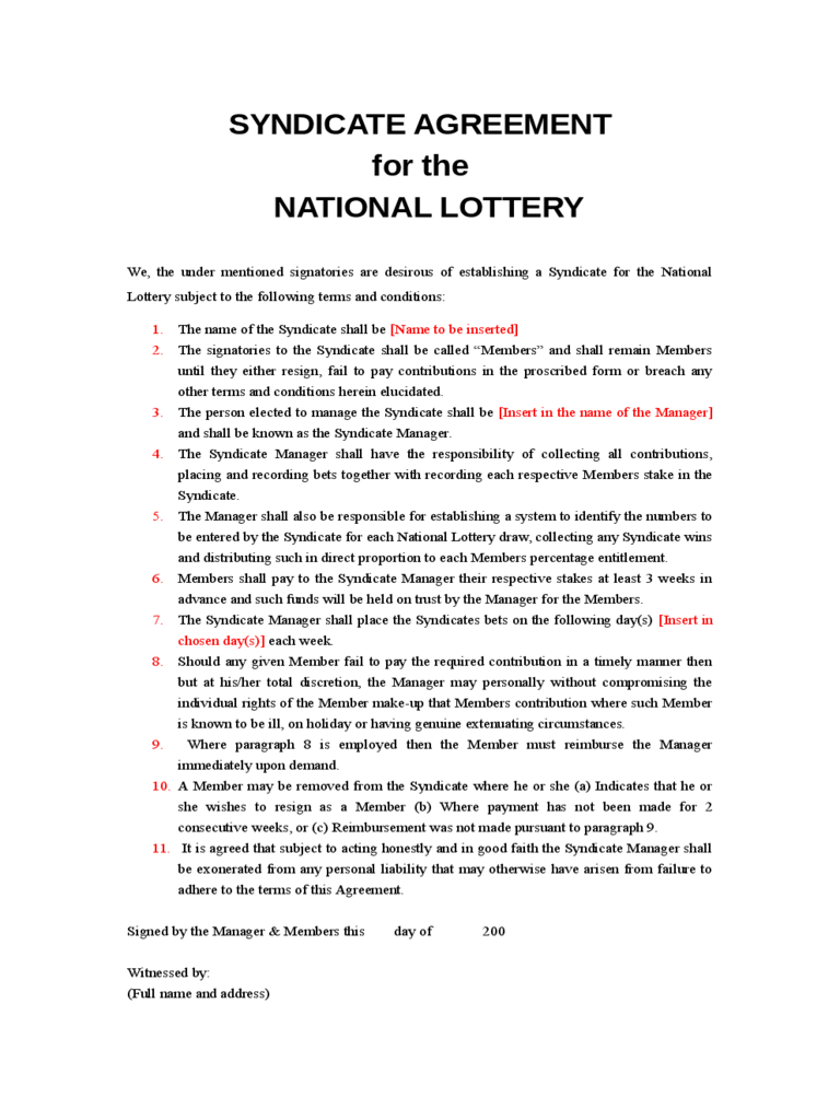Lottery Syndicate Sheet