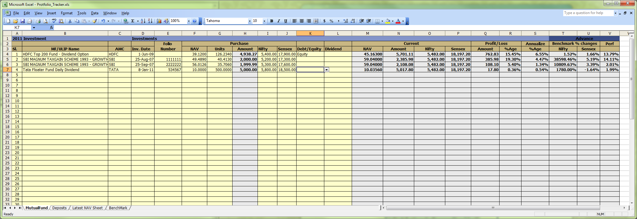 Stock options portfolio spreadsheet