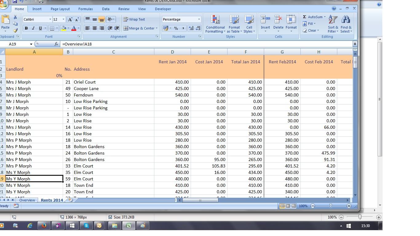 Rental Income Spreadsheet