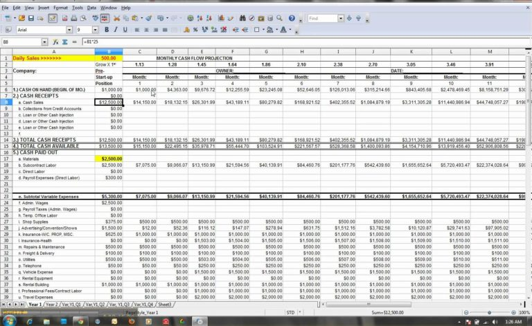 Weekly Cash Flow Projection Template Excel And 12 Month Cash Flow