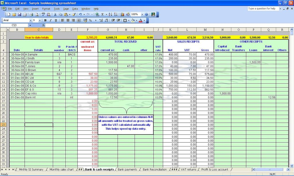 Bookkeeping For Self Employed Spreadsheet
